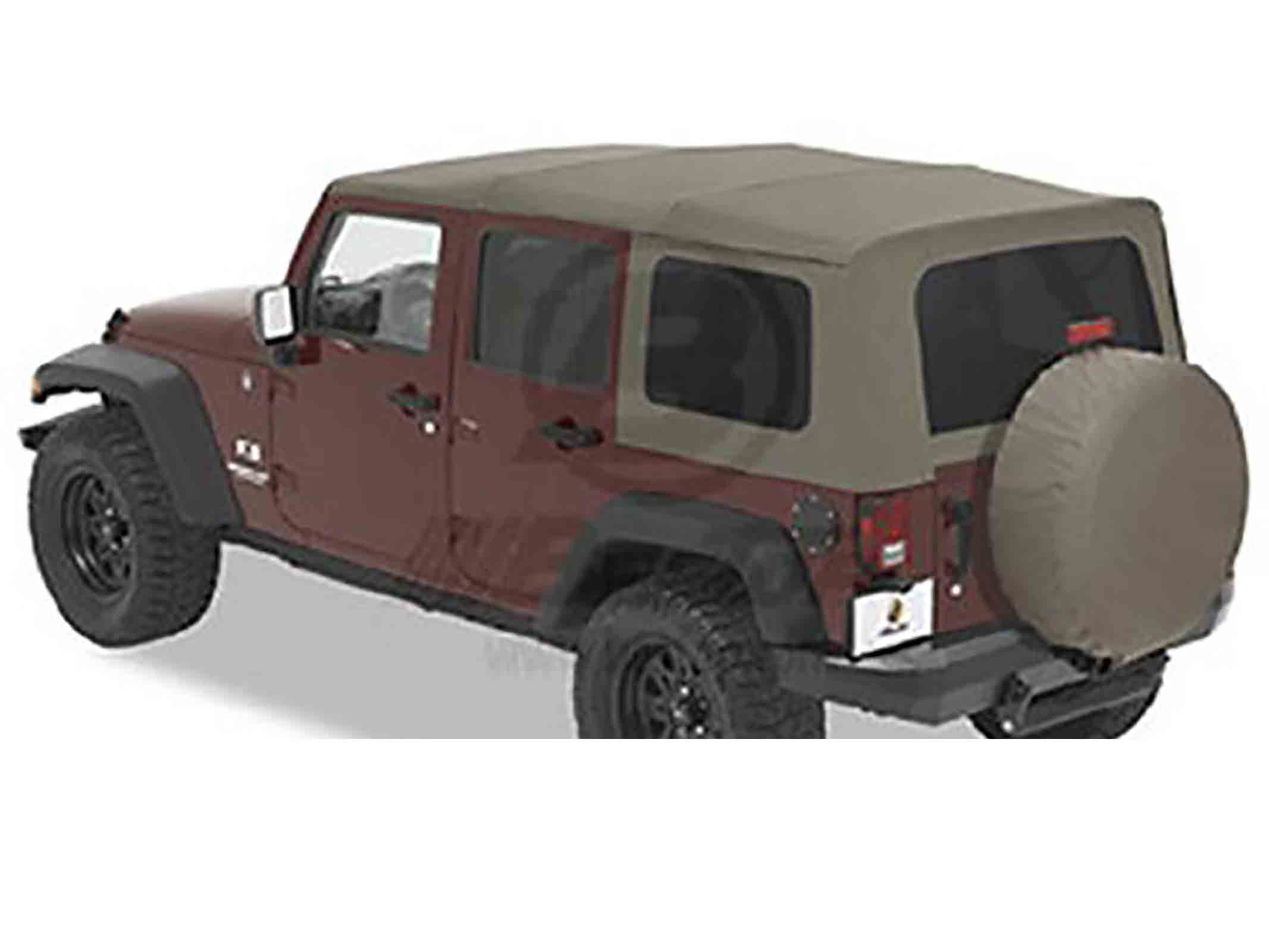 Softtop soft top capottina ricambio wrangler jk unlimited 07 09 khaki dia 4 porte ricambi jeep